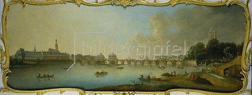Johann Samuel Mund: Frankfurt am Main mit der Alten Brücke, Ansicht von Osten. Wohl um 1770/71