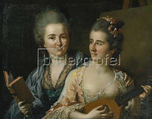 Johann Heinrich Tischbein: Doppelporträt der Schwestern Friederike Elisabeth und Wilhelmine Oeser. 1776
