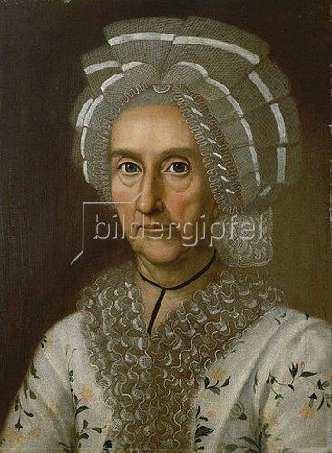 Unbekannter Künstler: Anna Margaretha Justina Textor, geb. Lindheimer (1711-1783).