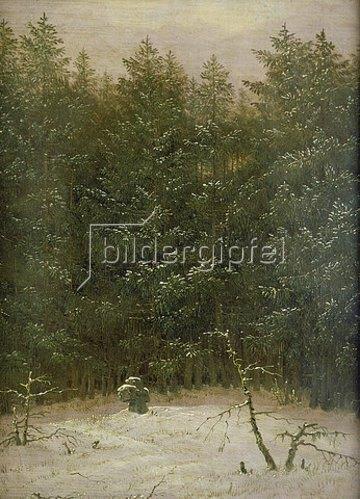 Carl Gustav Carus: Verschneiter Wald mit Steinkreuz. 1823