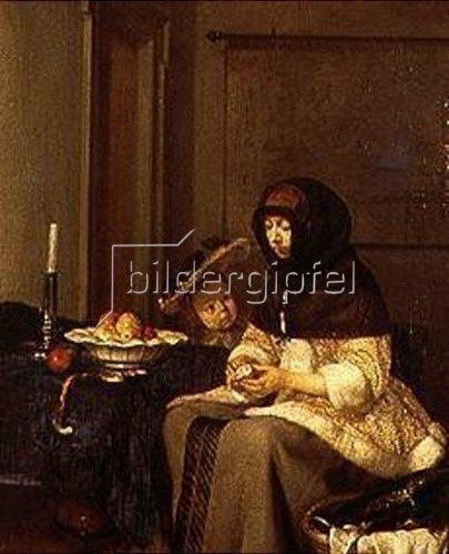 Gerard ter Borch: Die Apfelschälerin. Um 1661