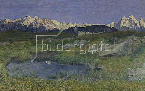 Giovanni Segantini: Alpenlandschaft bei Sonnenaufgang.