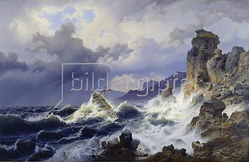 Andreas Achenbach: Ein Seesturm an der norwegischen Küste.