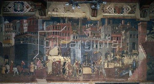 Ambrogio Lorenzetti: Das Leben in der Stadt. Aus: Die Folgen der Guten Regierung. Um 1337-40