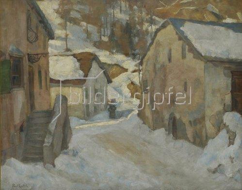 Paul Crodel: Dorfstraße im Winter. Um 1908/13.