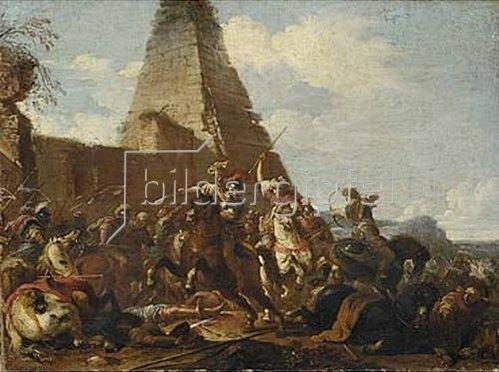 Jacques Courtois: Reiterkampf gegen Orientalen vor einer Pyramide