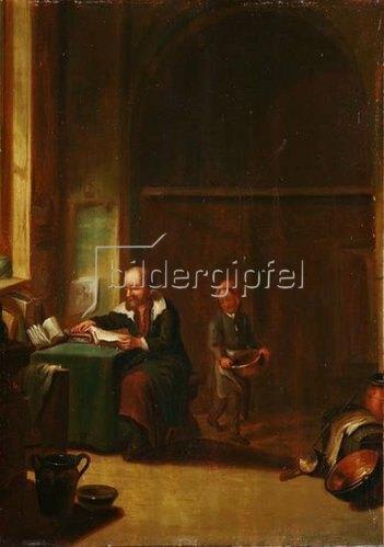 Justus Juncker: Mann im Studierzimmer mit einem Knaben.