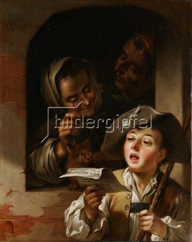 Unbekannter Künstler: Singender Savoyarde vor einem Fenster mit altem Paar. Wohl 2. Hälfte 18. Jh.