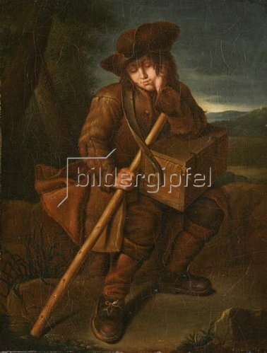 Unbekannter Künstler: Schlafender Savoyardenknabe mit umgehängter Marmotte. 18. Jh.