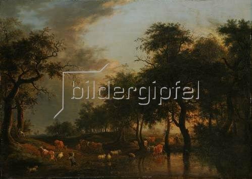 Unbekannter Künstler: Waldlandschaft mit Herde. Um 1760/70.