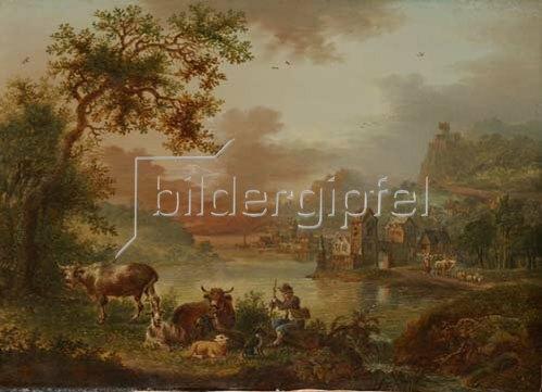 Christian Georg Schütz d.Ä.: Flußlandschaft mit rastendem Hirten und Herde. Um 1780/90?