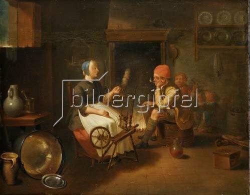 Justus Juncker: Interieur mit Bauern beim abendlichen Zeitvertreib. 1762.