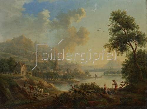 Christian Georg Schütz d.Ä.: Flußlandschaft mit Staffage. Wohl um 1770/80.