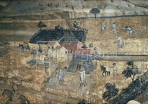 Ambrogio Lorenzetti: Das Leben auf dem Land (Aus: Die Folgen der Guten Regierung) - Detail. Um 1337-1340.
