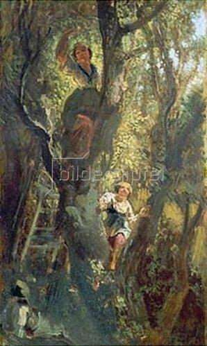 Carl Spitzweg: Mädchen auf dem Baum. Um 1875/80