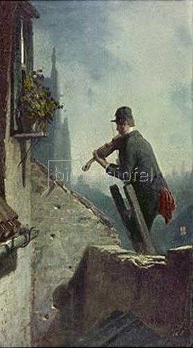 Carl Spitzweg: Ständchen (Geiger auf dem Dach). Um 1854
