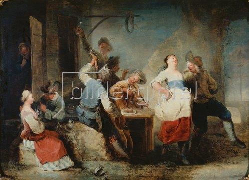 Januarius Zick: Tanzendes Bauernpaar vor einer Schenke.