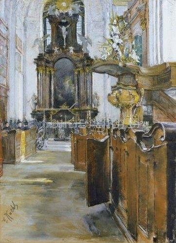 Gotthard Kuehl: Inneres der St. Michaelis-Kirche in Hamburg. 1890
