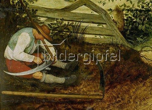 Pieter Brueghel d.Ä.: Bauer beim Dengeln seiner Sense. (Detail aus: Die Heuernte, siehe Bildnummer 870)