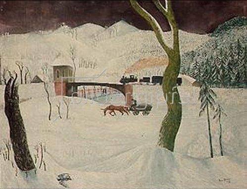 Jenö Paiss-Goebel: Winterlandschaft mit Fuhrwerk und Eisenbahn. 1932.