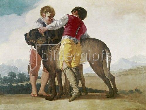 Francisco José de Goya: Zwei Knaben und zwei Hunde. 1786-87