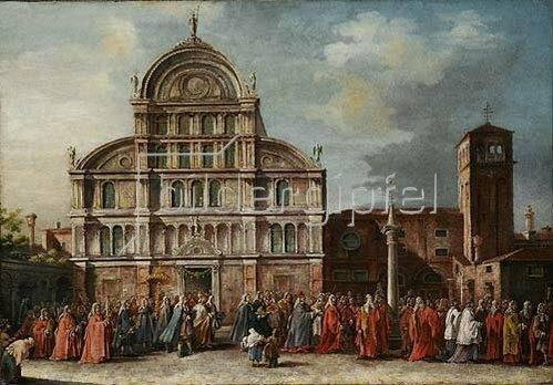 Unbekannter Künstler: Der Besuch des Dogen in San Zaccharia in Venedig. 18. Jh.