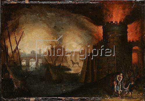 Unbekannter Künstler: Der Brand von Troja. 17. Jh.