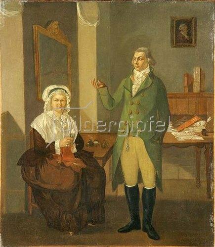 Peter Eduard Ströhling: Doppelporträt eines jungen Mannes und einer älteren Frau in Interieur. 1779