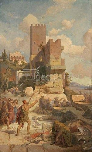 Friedrich Preller d.Ä.: Szene aus der Odyssee: Abzug von Troja. Um 1867