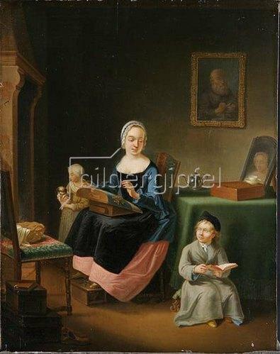 Justus Juncker: Interieur mit Spitzenklöpplerin und zwei Kindern. 1764