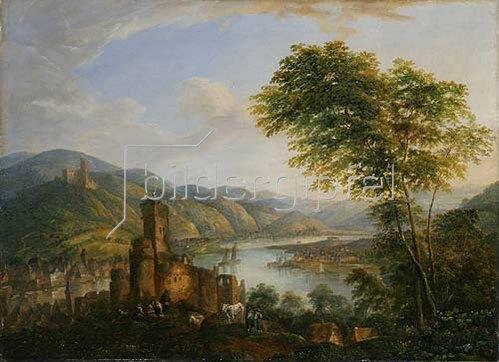 Christian Georg Schütz d.Ä.: Flußlandschaft mit Rheinmotiven. Wohl frühes 19. Jh.