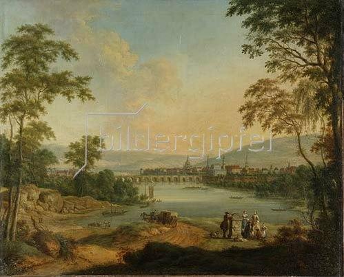 Johann Christian Vollerdt: Dresden vom rechten Elbufer aus gesehen. 1756