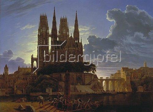 Karl Friedrich Schinkel: Dom über einer Stadt. Nach 1813. (Kopie von K.E. Biermann um 1830).