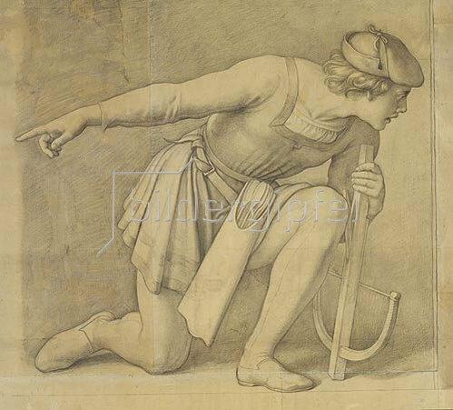 Julius Schnorr von Carolsfeld: Kniender Armbrustschütze.