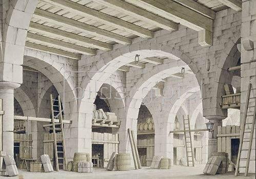 """Giorgio Fuentes: Warenlager. Dekoration zu der Oper """"Corsar""""."""