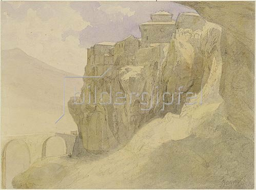 Carl Peter Burnitz: Spanische Landschaft, Dorf auf Felsen.