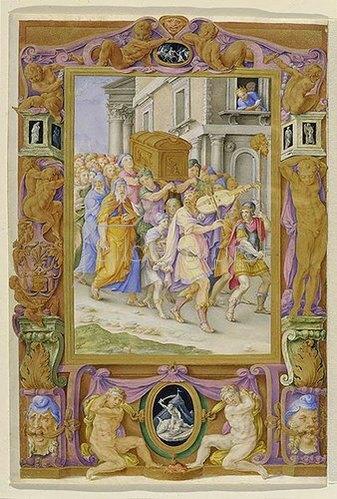 Giulio Clovio: Davids Tanz vor der Bundeslade. Um 1530.