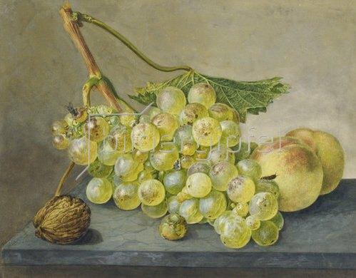 Wybrand Hendriks: Eine Traube, eine Nuß und zwei Pfirsiche.