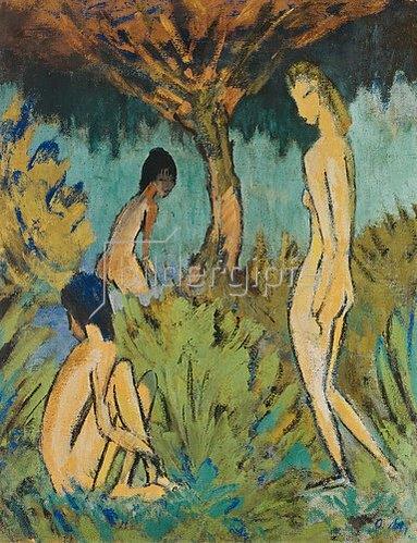 Otto Mueller: Drei badende Mädchen.