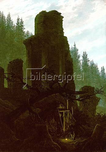 Caspar David Friedrich: Kirchenruine im Wald. Um 1831.