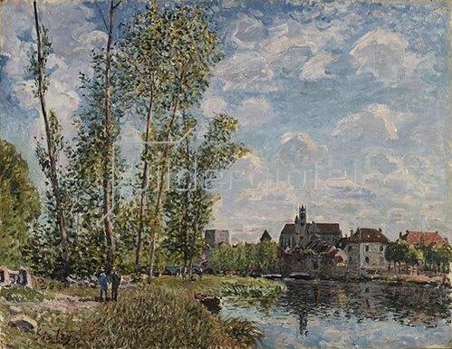 Alfred Sisley: Moret, Blick auf dem Fluss Loing an einem Nachmittag im Mai.