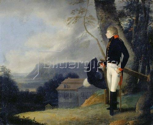Georg Friedrich Kersting: Preußischer Kavallerist in Landschaft. Um 1814/15.