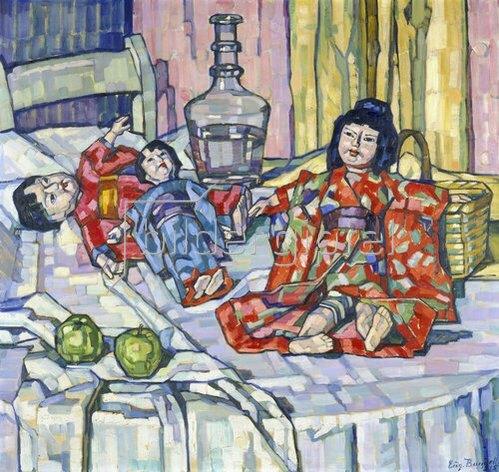 Eugenie Bandell: Japanische Puppen mit Äpfeln. 1915