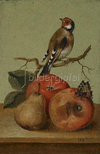 Johann Conrad Seekatz: Fruchtstück mit Buntfink und Schmetterling.