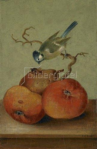 Johann Conrad Seekatz: Fruchtstück mit Meise und Biene.