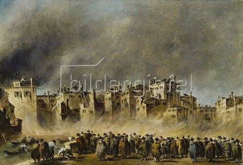 Francesco Guardi: Der Brand im Quartier von S.Marcuola (1789). Lwd., 42,5 x 62,2 cm.