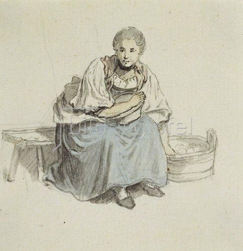 Johann Ludwig Aberli: Sitzende Frau mit Holzbütte.