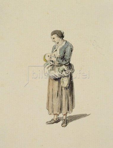 Johann Ludwig Aberli: Stehende, stillende Frau.