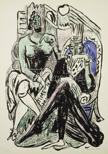 Max Beckmann: The Fall of Man from Day and Dream. 1946