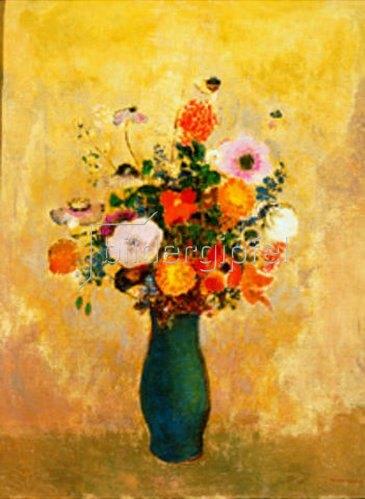 Odilon Redon: Wildblumen in grüner Vase.